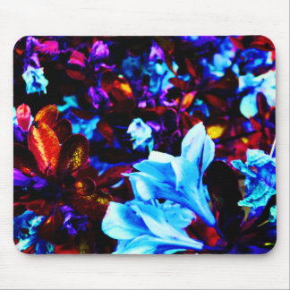 Psychedelic Garden Flowers Blue Purple Fuschia Mouse Mat