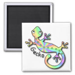 Psychedelic Gecko Square Magnet