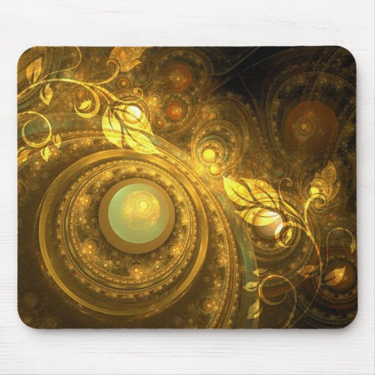 Psychedelic Gold and Leaves Vines Mousepad