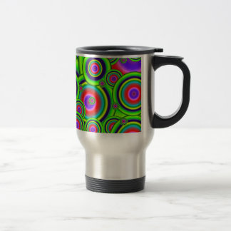 Psychedelic Green Abstract Spirals Mugs