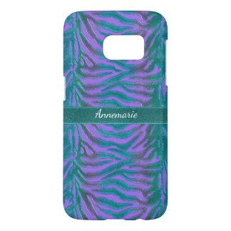 Psychedelic Green n Violet Zebra Animal Print