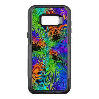 Psychedelic green orange purple OtterBox commuter samsung galaxy s8+ case