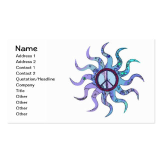 Psychedelic Groovy Trippy Blue Peace Sign Business Card Templates