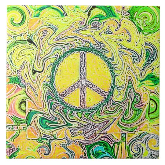 Psychedelic Groovy Trippy Fine Peace Sign Large Square Tile