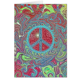 Psychedelic Groovy Trippy Peace Sign Card