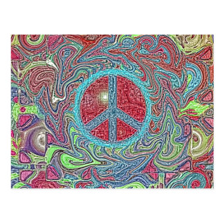 Psychedelic Groovy Trippy Peace Sign Postcard