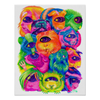 Psychedelic Guinea Pig Pile Print
