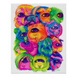 Psychedelic Guinea Pig Pile Print Poster