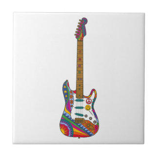 Psychedelic Guitar Small Square Tile