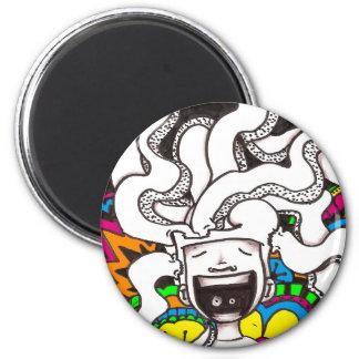 Psychedelic Happy Brain 6 Cm Round Magnet