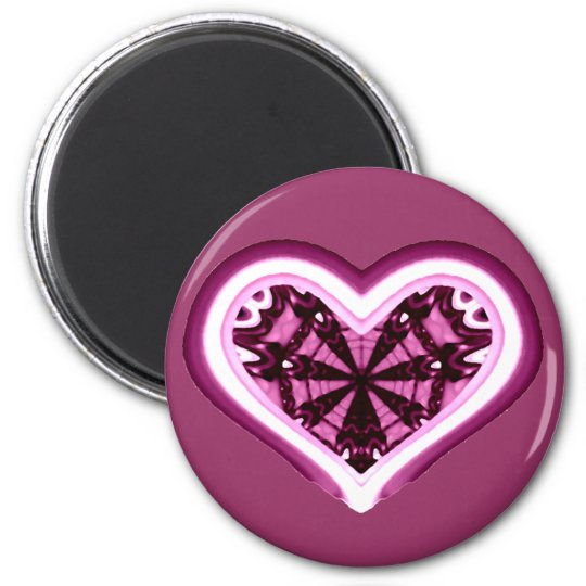 Psychedelic Heart 6 Cm Round Magnet