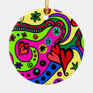 psychedelic hearts #3 christmas ornament