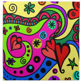 psychedelic hearts #3 napkin