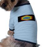 psychedelic hexagon rainbow design. dog t shirt