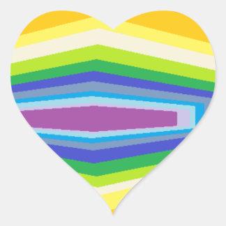 psychedelic hexagon rainbow design. heart stickers