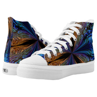 psychedelic High tops Sneakers(blue and gold)