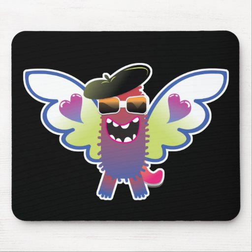 psychedelic hippie angel monster mouse pad