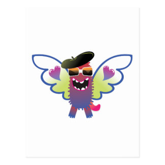 psychedelic hippie angel monster postcard