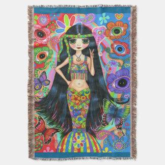 Psychedelic Hippie Girl Mermaid Peace Sign 1960s Throw Blanket