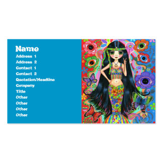 Psychedelic Hippie Girl Mermaid with Butterflies Pack Of Standard Business Cards