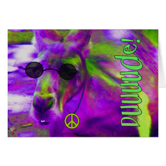 Psychedelic Hippie Peace Loving Kangaroo, Dude! Card