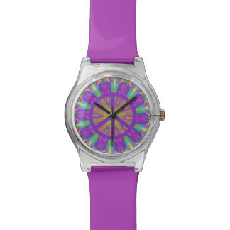 Psychedelic Hippie Tie Dye Peace Symbol Watch