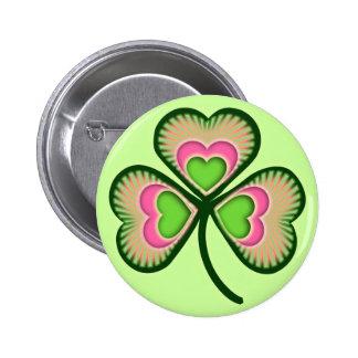 Psychedelic Irish Shamrock 6 Cm Round Badge