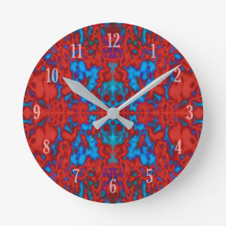 Psychedelic kaleidoscope pattern round clock