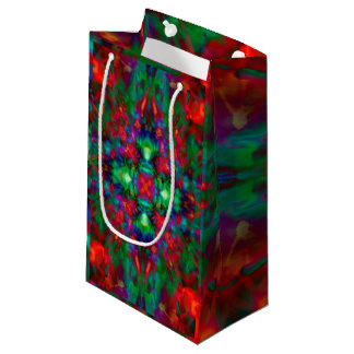 Psychedelic kaleidoscope pattern small gift bag