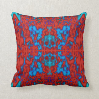 Psychedelic kaleidoscope skulls pattern throw pillow