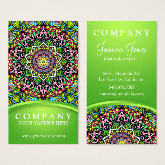 Psychedelic Leaves Mandala Business Card