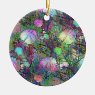 Psychedelic Lily Pad Light Show Round Ceramic Decoration
