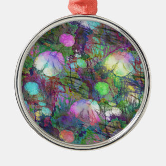 Psychedelic Lily Pad Light Show Silver-Colored Round Decoration