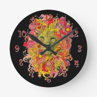 Psychedelic Lion Round Clock