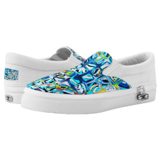 psychedelic little colorful blue cubes #2 printed shoes