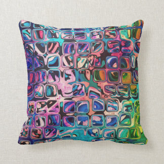 Psychedelic little colorful cubes cushion