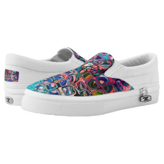 Psychedelic little colorful cubes slip on shoes