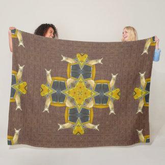 Psychedelic Llama Star Mandala Quilt Fleece Blanket