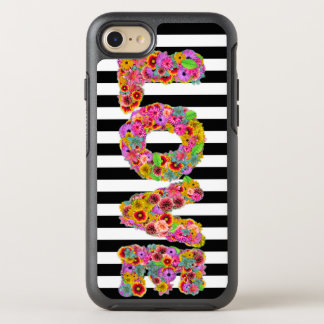 Psychedelic Love Flower letters striped background OtterBox Symmetry iPhone 8/7 Case