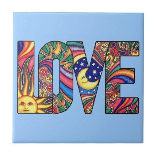 Psychedelic Love Ceramic Tile