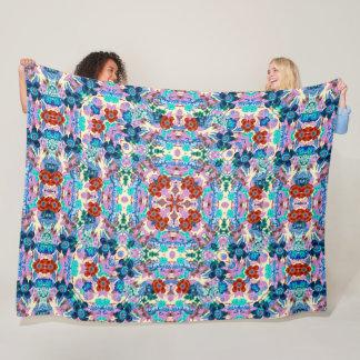 Psychedelic Magic Gecko Flower Garden Quilt Fleece Blanket