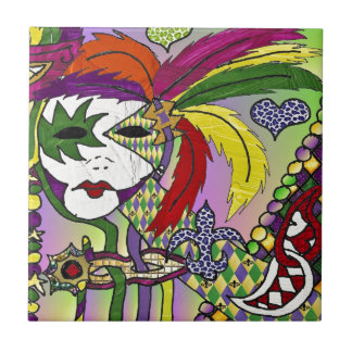 Psychedelic Mardi Gras Feather Mask Tile