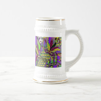 Psychedelic Mardi Gras Feather Masks Beer Stein