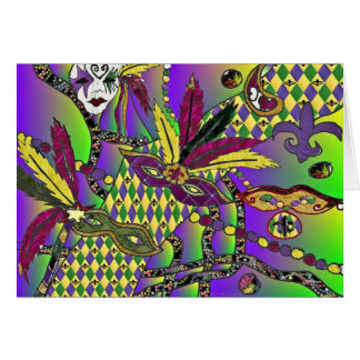 Psychedelic Mardi Gras Feather Masks Gifts Apparel Card