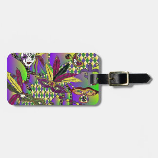 Psychedelic Mardi Gras Feather Masks Luggage Tag