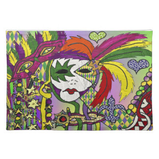Psychedelic Mardi Gras Feather Masks Placemat