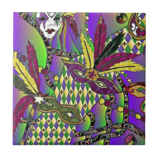 Psychedelic Mardi Gras Feather Masks Tile