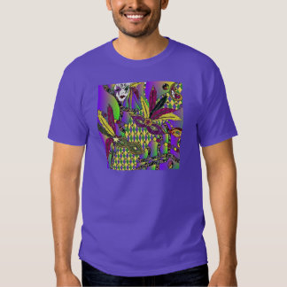 Psychedelic Mardi Gras Feather Masks Tshirt