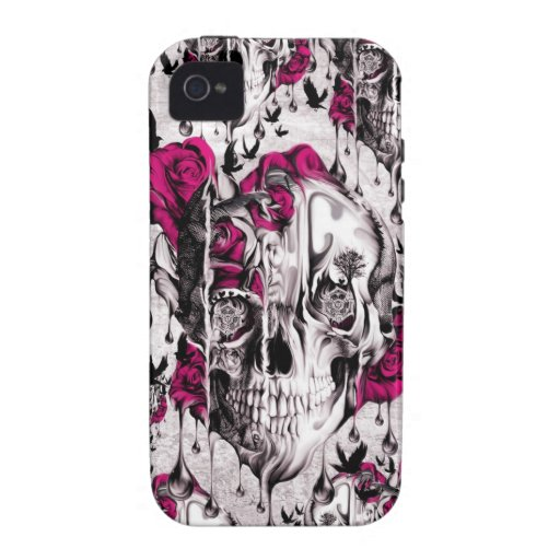 Psychedelic melting rose skull Case-Mate iPhone 4 covers