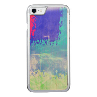 Psychedelic Mist Blue Sparkle Stars Abstract Carved iPhone 8/7 Case